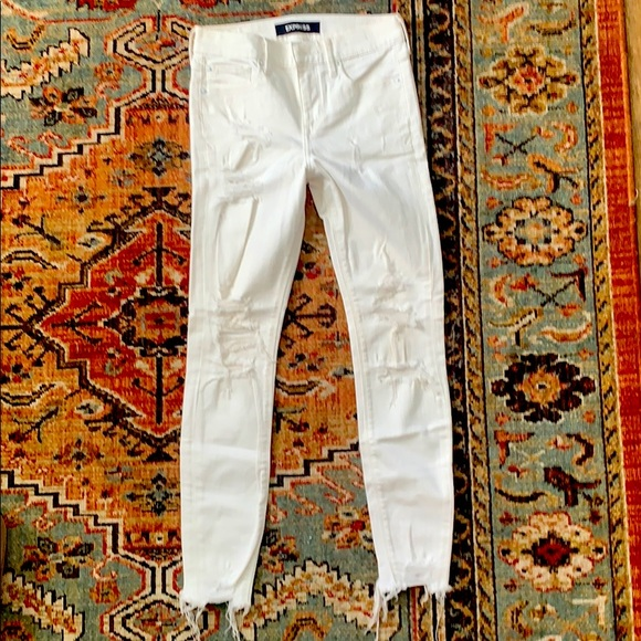 Express, White, High-waisted, distressed jeans